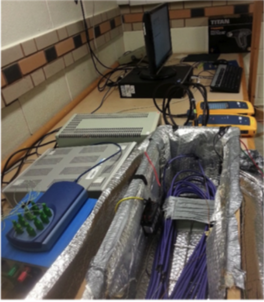 The lab setup included Fluke's DSX-5000 cable analysers and a 50m length of Cat 6 U/UTP that was subjected to thermal degradation inside a specially constructed heat chamber.