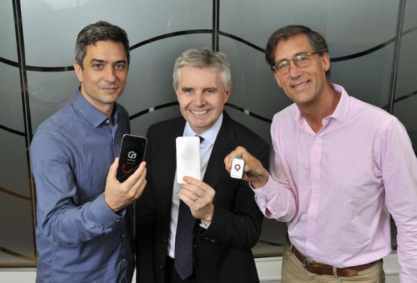 Lord Paul Drayson (centre) said Freevolt solves the problem of harvesting usable energy from a small RF signal. Also pictured: Gophr founder Seb Robert (left) and Inmarsat's Greg Ewert.