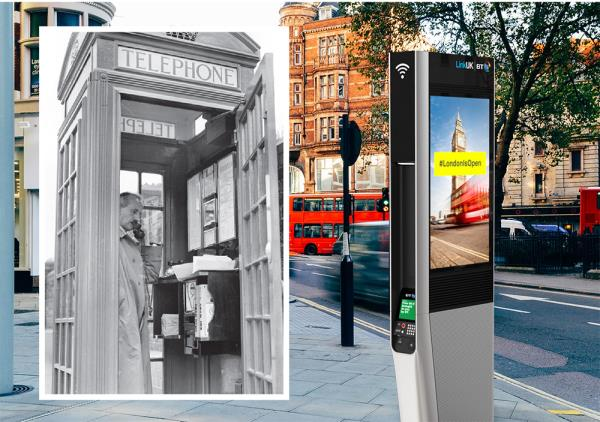 Left: the familiar K6 telephone box or 'Jubilee Kiosk' was designed by English architect Sir Giles Gilbert Scott and first introduced in 1936 to commemorate King George V's Silver Jubilee. There are still around 8,000 of these traditional red phone boxes in the UK of which 2,400 are designated as grade II listed buildings. Right: at least 750 Links kiosks will be installed across central London and in major cities across the UK over the next few years.