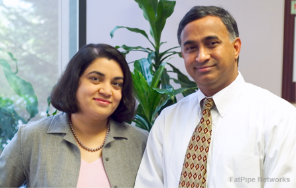 FatPipe co-founders Dr. Ragula Bhaskar (left) and Sanchaita Datta say they invented the concept of SD-WAN and hybrid WANs.