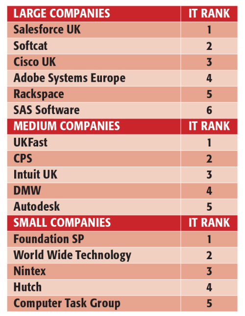 The top 16 firms to work for in the IT sector, according to the UK's Best Workplaces ranking. Full list at www.greatplacetowork.co.uk