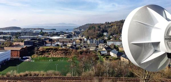 The WISP will use Mimosa's A5 access points mounted on strategically-located rooftops, as shown in this deployment in Scotland.