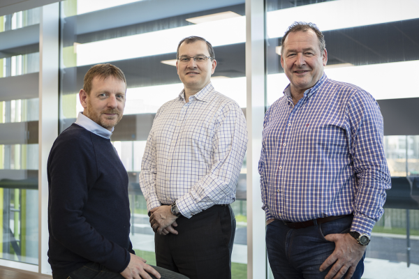 "Kao Data COO Paul Finch (left) says the facility has an ""acute focus on reliability and availability"". Alsp pictured are CEO Jan Daan Luycks CEO (centre) and CTO Gerard Thibault."