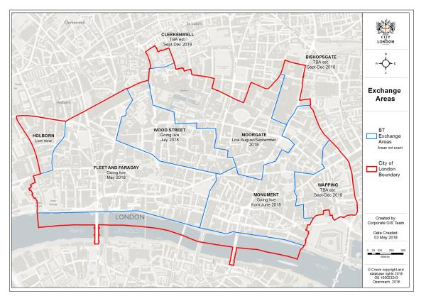 A map showing when each area of the City of London is due to have FTTP installed.
