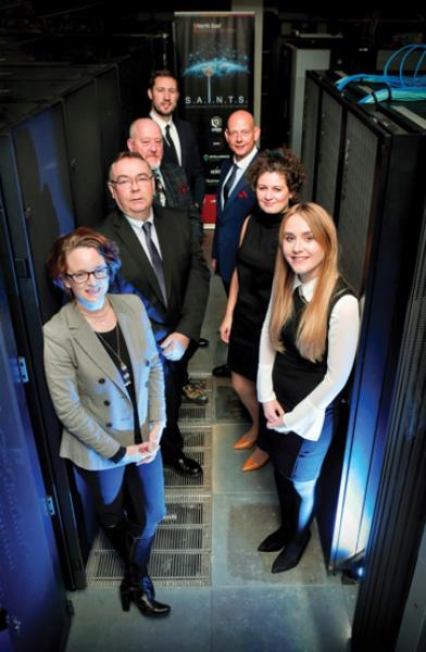 Representatives from the companies and organisations involved in the programme. Clockwise from left: Catherine Johns, Business Durham; Andrew MacPherson, 3DEO; Ralph Dinsley, NORSS; Michael McCabe, Intelligence Fusion; Austen Atkinson and Amy Nelson, Lexicon; and Shannon O'Neill, Satellite Applications Catapult.