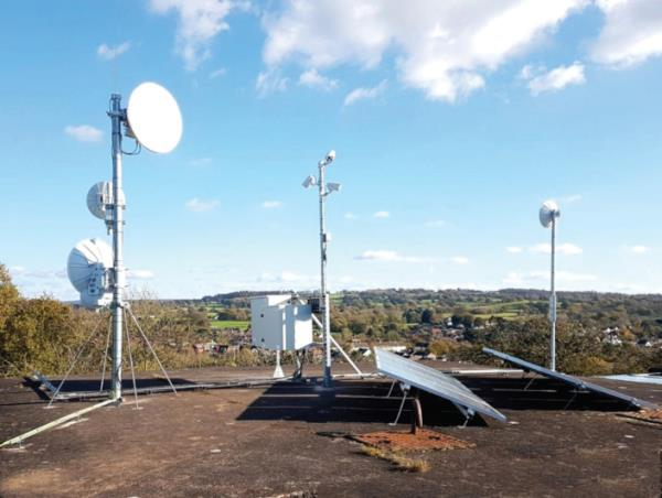 Some of the relay equipment rural community broadband specialist Voneus sometimes has to install on farms or commercial buildings.