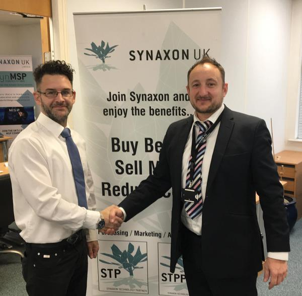 "Asset Remarketing MD Phil Steven (left) says he can take away the ""headache"". Also pictured is Synaxon UK's Mike Barron."